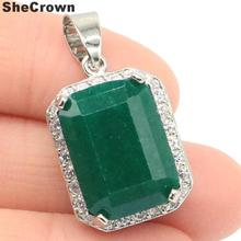 28x15mm SheCrown Pretty 18x13mm Real Green Emerald Created Mystic Topaz CZ Jewelry Making Silver Pendant