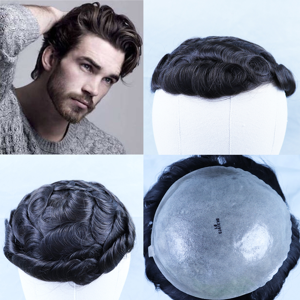 YY Wigs Natural Black Men's Toupee Brazilian Remy Human Hair Toupee For Men 8x10 Full Skin PU Hair Replacement System 6