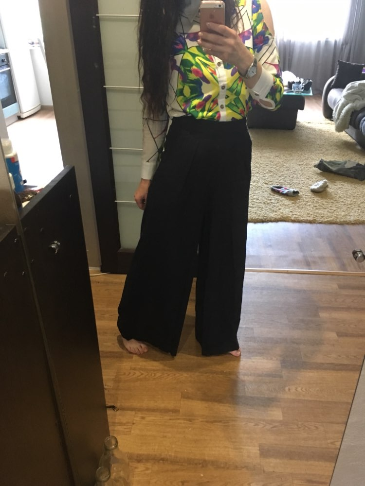 Hot Sale Women Black Wide Leg Casual Loose Palazzo Trousers Elegant Zipper High Waist Pants New Arrivals photo review