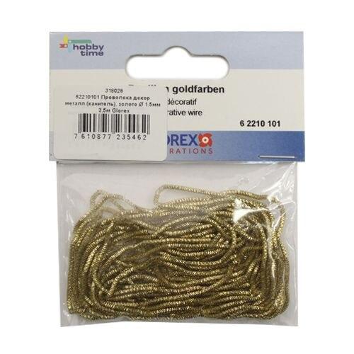 62210101 Wire Decor. Metal. (castor), Gold D 1,5mm 3,5 M Gloria Ex
