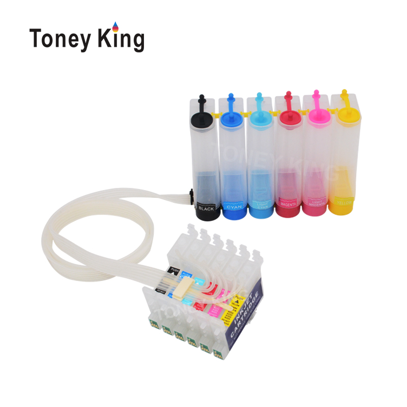 Toney King Ciss Ink System For <font><b>Epson</b></font> T0791 Continuous Ink Supply Tank For <font><b>Epson</b></font> Stylus Photo <font><b>1400</b></font> 1500W P50 Artisan 1430 <font><b>Printer</b></font> image