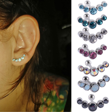 1PC Surgical Steel Charming Crystal Ear Tragus Cartilage Stud Helix Piercing Screw End ball Lobe Earrings Barbell Jewelry