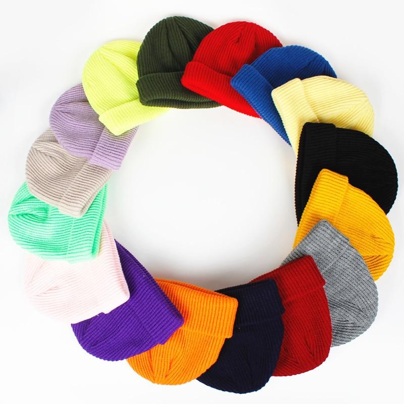 2019 moda nova cor pura chapéu de lã outono e inverno hip hop masculino e feminino chapéus de malha quente chapéu ao ar livre selvagem casual bonés