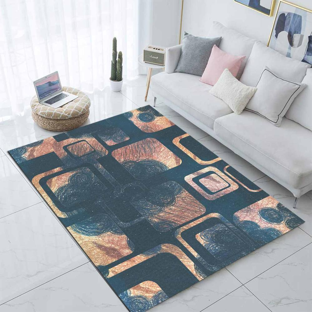 Else Blue Brown Geometric Square Abstract 3d Print Non Slip Microfiber Living Room Decorative Modern Washable Area Rug Mat