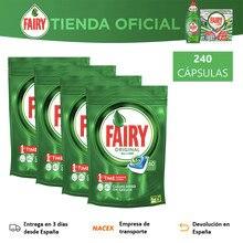 Fairy Original Todo En 1, 240 Cápsulas Para Lavavajillas, 4 Paquetes De 60 Cápsulas, Elimina La Grasa Más Incrustada
