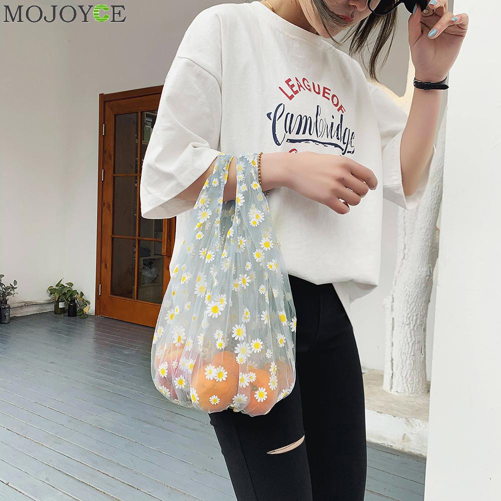 Little Daisy Lovely Lace Fresh Shopping Bag Eco Handbag For Women 2020 Spring Summer Mesh Embroidery Transparent Tote