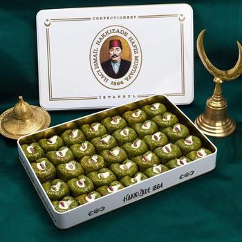 Turecki tradycyjny słynny marka Hafız Mustafa pistacjowy Padishah deser baklawa naturalny afrodyzjak z XL metalowe pudełko darmowe DHL tanie i dobre opinie TR (pochodzenie) Gotowanie pochodnie Narzędzia do deserów