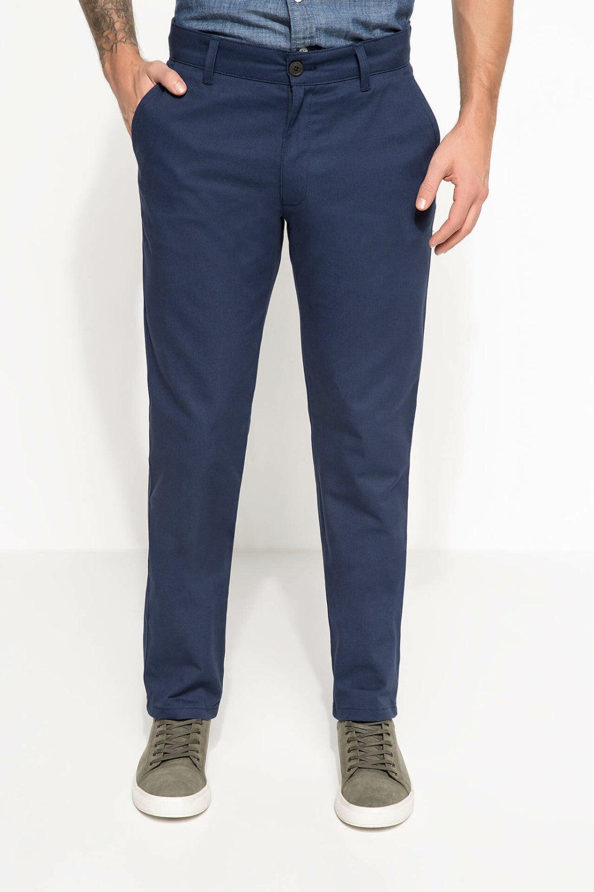 DeFacto Man Spring Solid Color Long Pants Men Casual Mid-waist Cargo Pant Male Fit Bottoms Trousers-H1682AZ18SP