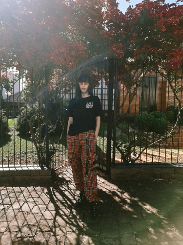 Plaid cargo pants with chain Grunge E-girl photo review