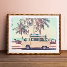 Camper Van autobús impresión fotográfica póster de viaje decoración playa Vintage Camper Palm panorama marino árbol foto cuadro sobre lienzo para pared