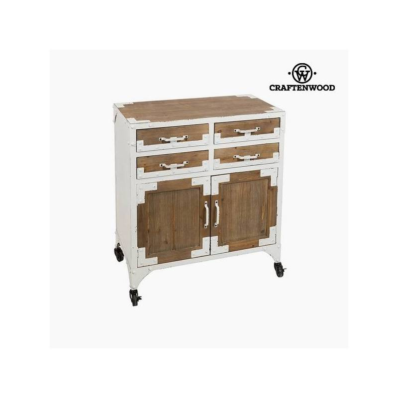 Console Fir Wood White (4 Drawers) (76x42x84 Cm) By Craftenwood