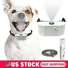 Cão de estimação recarregável anti bark collar trem controle à prova dwaterproof água parar latido cão treinamento ultra sônico coleiras