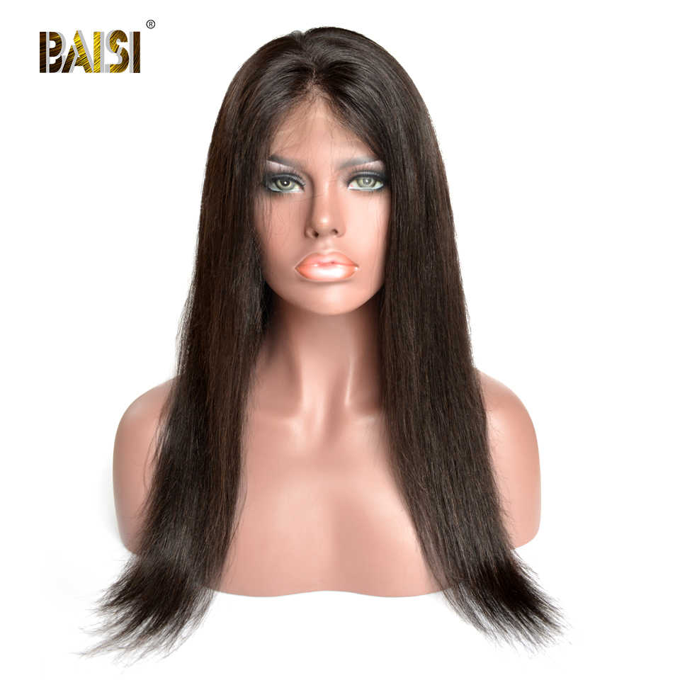 BAISI Hair Brazilian Human Hair Wigs 150% Density Striaght Wave Full Lace Wigs Transparent Lace  with Pre-Plucked Wig