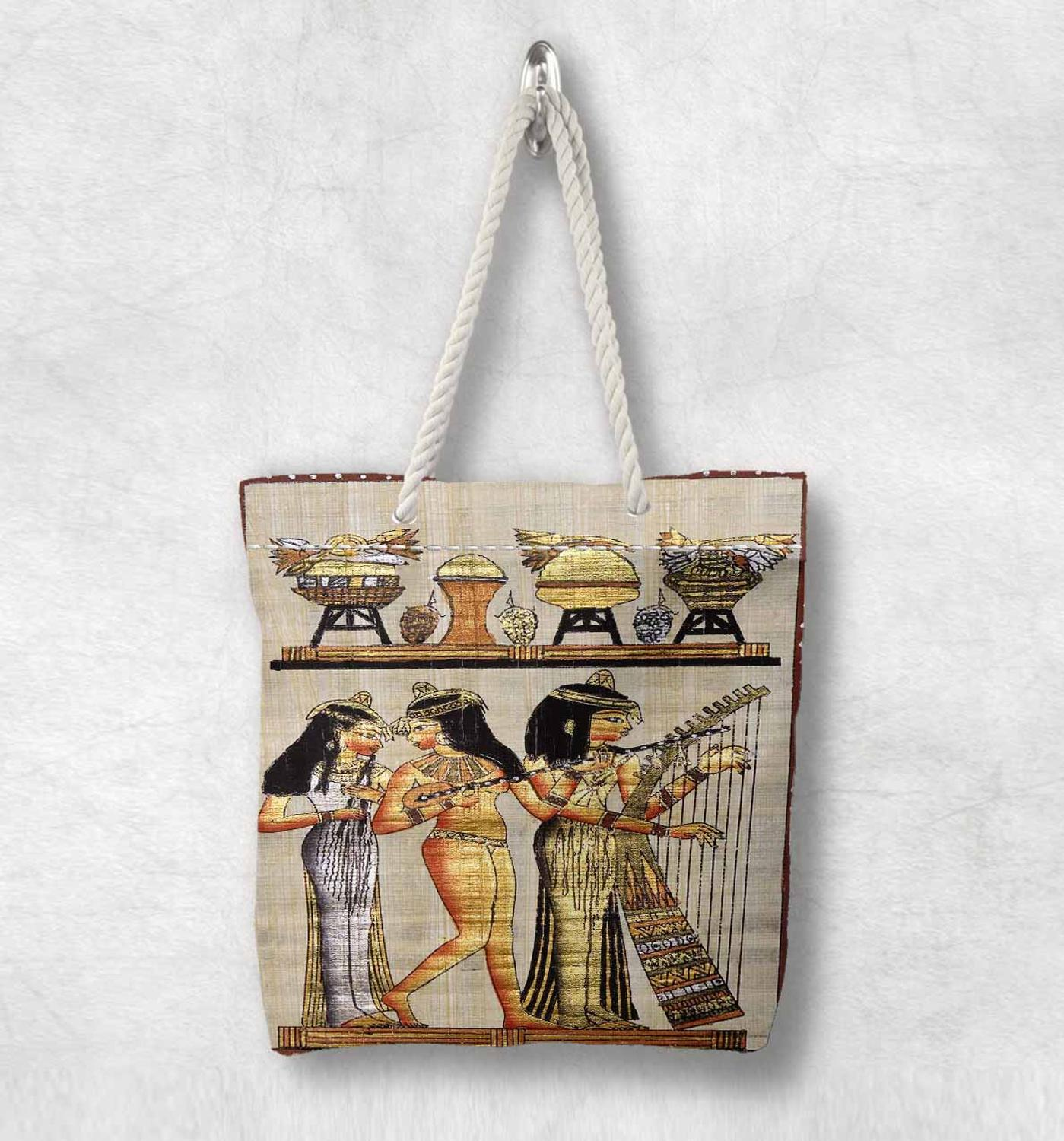 Else Yellow Persian Antique Egypt Design New Fashion White Rope Handle Canvas Bag Cotton Canvas Zippered Tote Bag Shoulder Bag