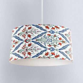 Else Ottoman Authentic Red Tullip Design Digital Printed Fabric Chandelier Lamp Drum Lampshade Floor Ceiling Pendant Light Shade