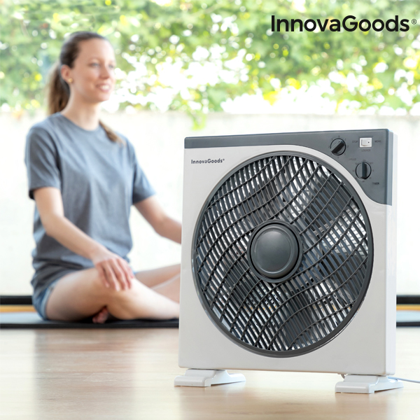 InnovaGoods Box Ø 30 Cm 50W White Grey Floor Fan