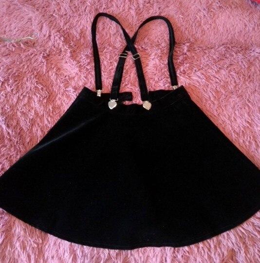 Women'S Skirt Harajuku Velvet Punk Love Clip Strap Skirt For Female Ladies Mini Skirts Black photo review