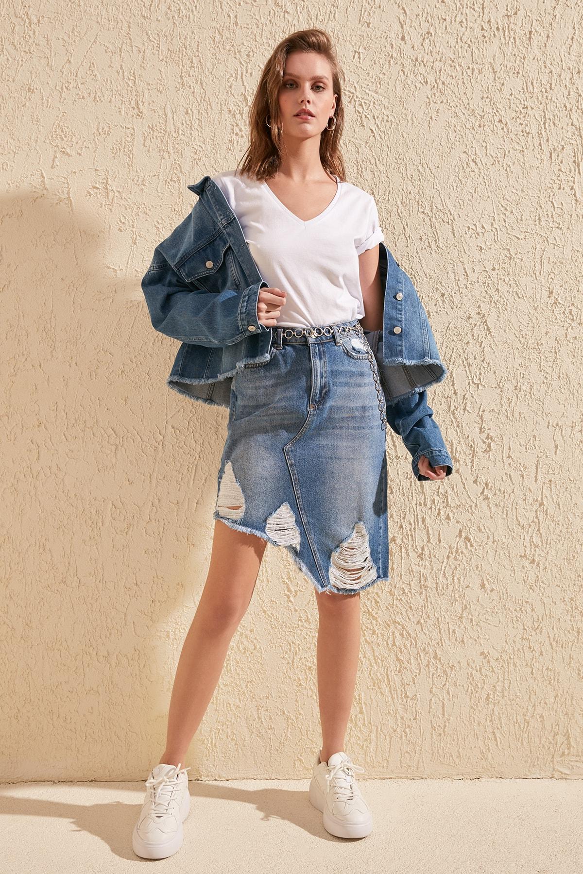 Trendyol Ripped Detailed Asymmetrical Denim Skirt TWOSS20ET0056