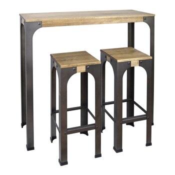 Mesa alta estilo industrial y 2 taburetes vintage