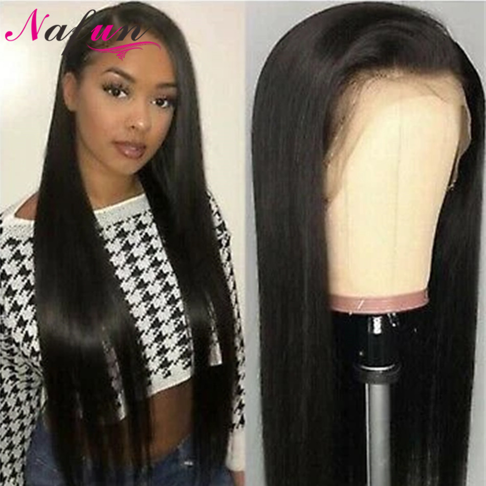Nafun Hair Lace Front Human Hair Wigs For Black Women Brazilian Straight Lace Frontal Wig Natural Color Swiss Lace Wig Non-Remy