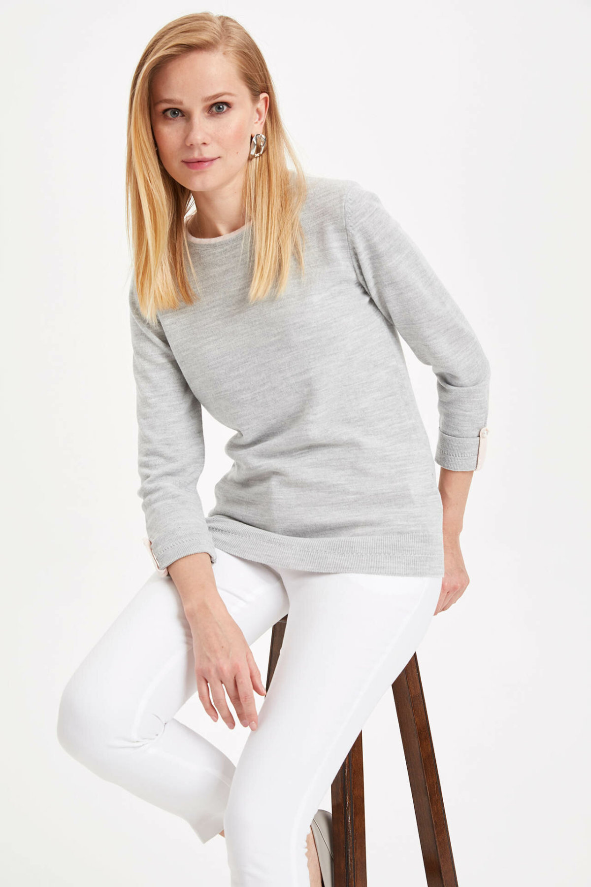 DeFacto Women Autumn White Grey Light Color Pullover Elegent All Match Long Sleeve Female Top Shirts Comfortable-I8235AZ19AU