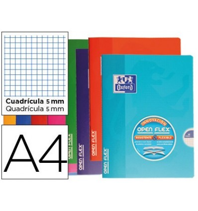 SCHOOL NOTEBOOK OXFORD BENDABLE COVER OPTIK PAPER OPENFLEX 48 SHEETS 90 90X140 MM TABLE 5 MM COLORS ASSORTED 10 Pcs