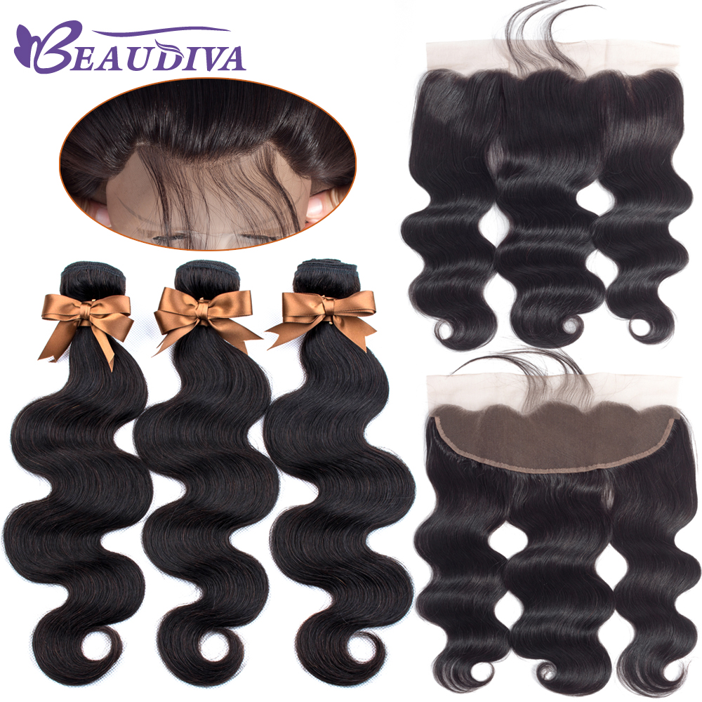 Brazilian Hair Weave Bundles With Frontal Beaudiva Hair Brazilian Body Wave Human Hair Bundles With Lace Frontal Closure