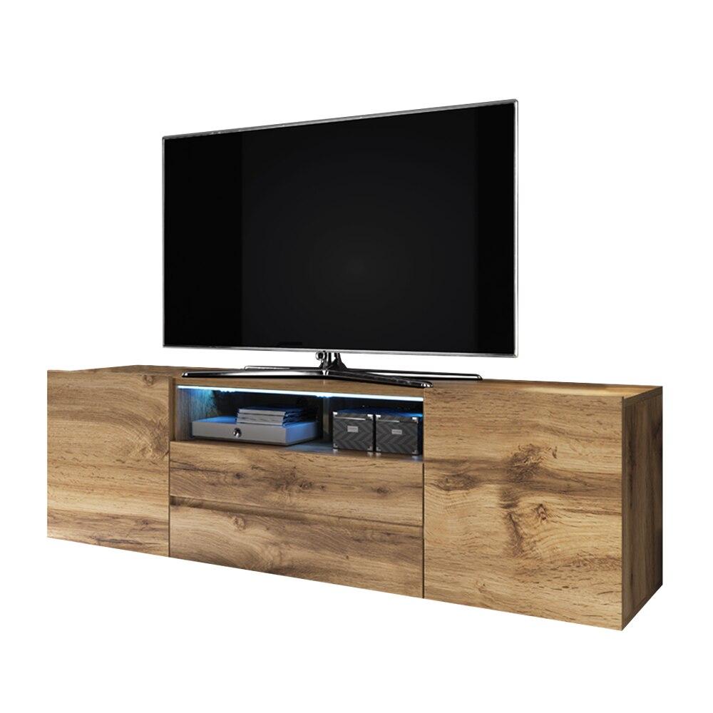 Selsey BROS - Meuble tv / Banc tv (137 cm, effet chêne wotan, avec LED) 3