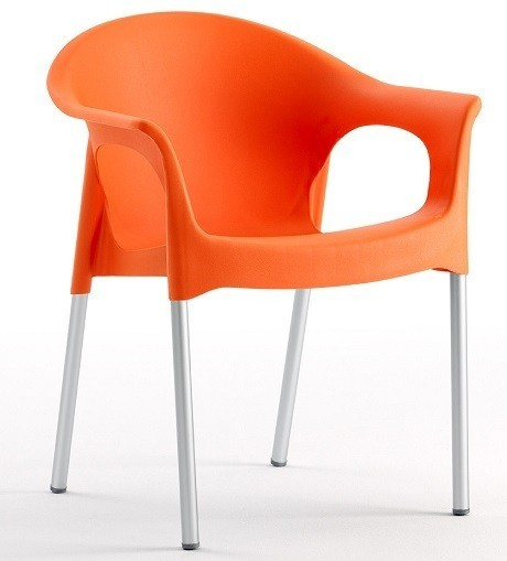 Armchair NILE Aluminum Stackable Polypropylene Orange *