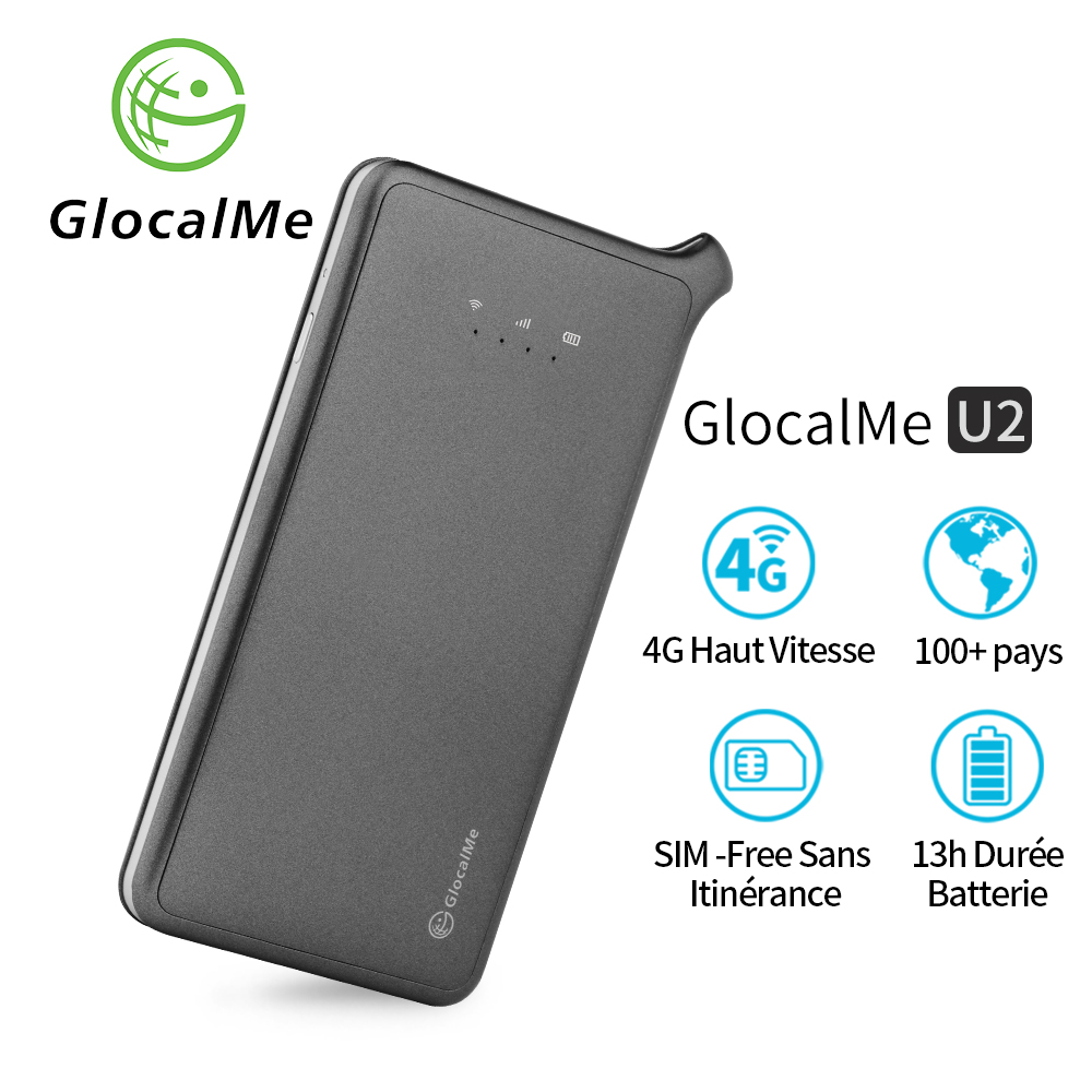 GlocalMe U2 4G Mobile Hotspot Global Wi-Fi With 1GB Global Initial Data, SIM Free, Coverage In Over 100 Countries Free Roaming C