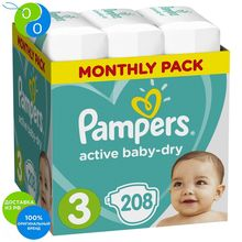 Подгузники Pampers Active Baby-Dry 6–10 кг, размер 3, 208шт