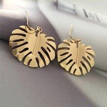 pair of stylish faux turquoise leaf alloy drop earrings for women Bohemian Style Leaf Drop Earrings Gold Color Banana's Leaf Dangle Drop Earrings for Trendy Women Beach Party jewelry