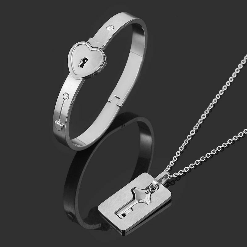 SG A Set Lover Necklaces Queen King Bangle Pendants Cupid Forever Love Heart Lock Key Couple Bracelet Stainless Steel Jewelry(China)