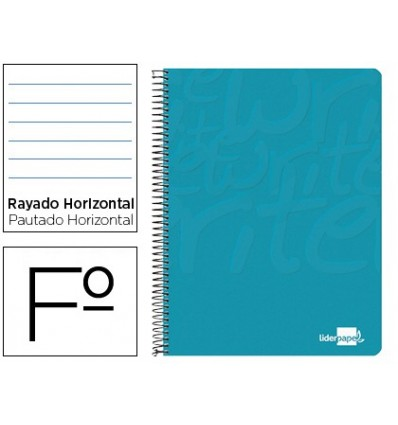 SPIRAL NOTEBOOK LEADERPAPER FOLIO WRITE SOFTCOVER 80H 60GR HORIZONTAL MARGIN TURQUOISE 10 Pcs