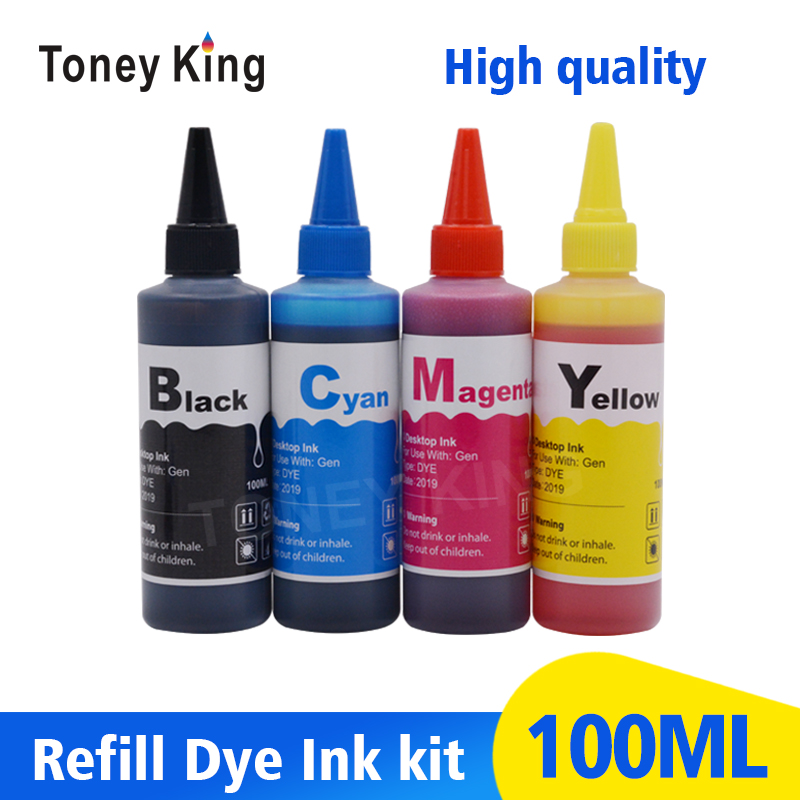Toney King 4 Color 100ml Printer Ink For <font><b>HP</b></font> 21 22 123 122 121 302 304 301 300 650 <font><b>652</b></font> 140 141 XL Cartridge Ink <font><b>Refill</b></font> <font><b>Kit</b></font> image