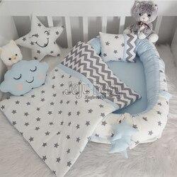 Jaju Baby Babynest Blue Stars Luxury Orthopedic Baby Nest and Breastfeeding Pillow 5 Piece Bedding Set Baby Bed Crib Bedding Set