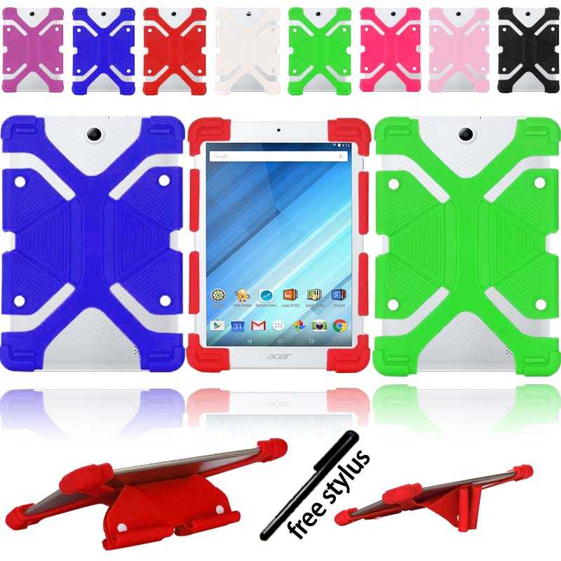 KK&LL For Acer Iconia One 8 Inch B1-850 -  New Soft Tablet Shockproof Silicone Stand Cover Case+Stylus