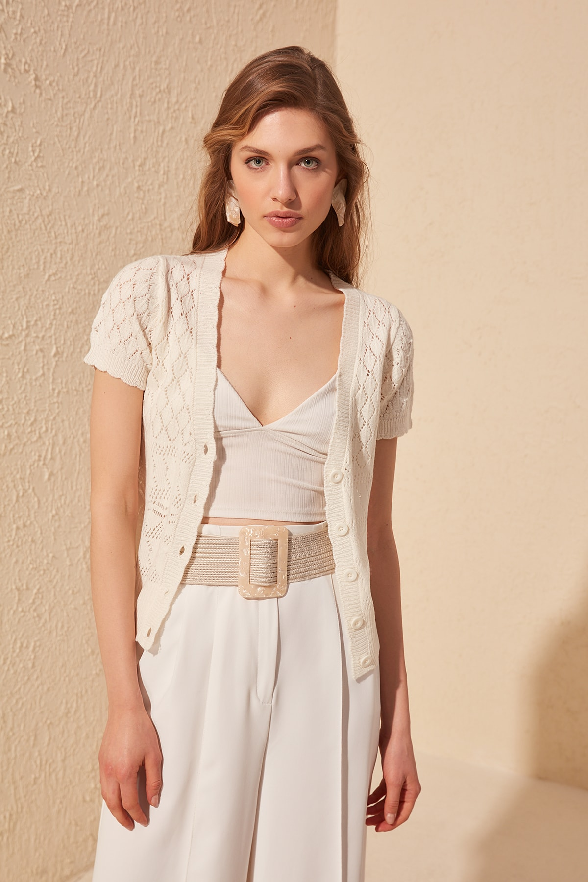 Trendyol Short Sleeve Knitwear Cardigan TWOSS20HI0007