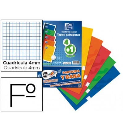 NOTEPAD SPIRAL OXFORD TOP EXTRADURA FOLIO 80 SHEETS FRAME 4 MM PACK OF 4 + 1 FREE