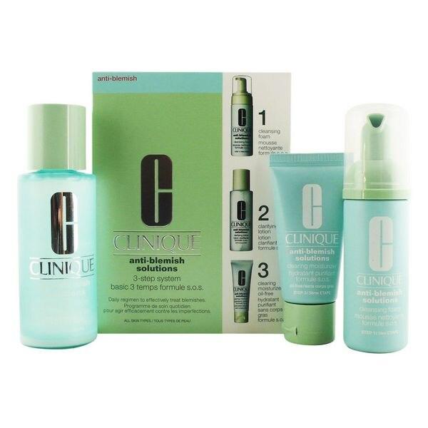 Women's Cosmetics Set Anti-blemish Solutions 3 Step Clinique (3 pcs) clinique black head solutions set