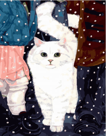Painting By Numbers GX 34100 White Cat 40*50