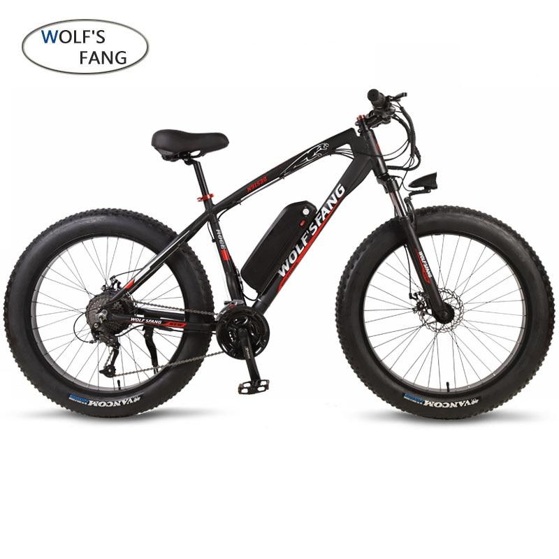 Wolf fang Elektrische bike 26 zoll 48V 500W 13AH 21/27 geschwindigkeit Fett bike elektro fahrrad mountainbike ebike Bürstenlosen motor Bike