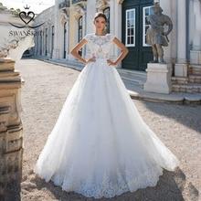 Koronka w stylu Vintage ślub księżniczki sukienka 2020 Swanskirt aplikacje linii zroszony sąd pociąg suknia ślubna Illusion Robe de mariee I181
