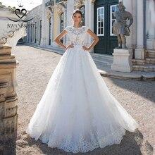 Laço do vintage princesa vestido de casamento 2020 swanskirt apliques a linha frisado tribunal trem vestido de noiva ilusão de mariee i181