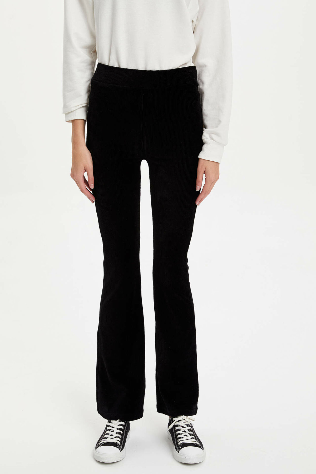 DeFacto Fashion Pants Women Mid Elastic Waist Flare Trousers Lady Casual Solid Color Pants Comfort Female Autumn - M6602AZ19WN