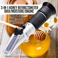 3 in 1 Honey Refractometer Brix/Moisture/Baume Tester Meter ATC  Tri Scale 58 90%/12 27%/38 43Be'  Sugar Water Content Level Refractometers     -