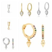 Pendientes de aro de plata de ley 100% lisa para mujer, aretes colgantes para mujer, regalo de compromiso, aretes largos ostentosos, accesorios de joyería delicada 925