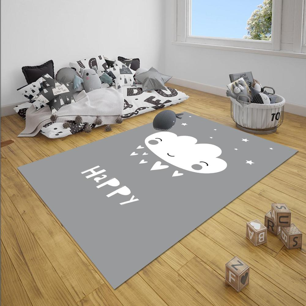 Else Gray WhiteHappy Clouds Nordec Unisex 3d Print Non Slip Microfiber Children Baby Kids Room Decorative Area Rug Mat