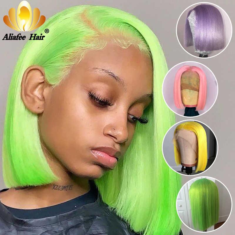 Aliafee 150% koronki przodu włosów ludzkich peruk 613 blond krótki Cut Bob peruki dla czarnych kobiet 13x4 różowy zielony prosto Ombre peruki