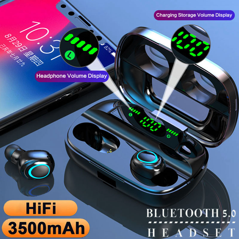 Best TWS Bluetooth 5.0 Earphones Wireless Headphones Earbuds with 3500mAh Charging Box Noise Cancelling Headset for Smartphone(China)